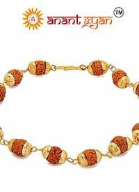 Gold Plated Rudraksha Bracelet